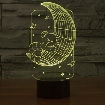 נפץ Creative שולחן 3d מנורת שבע צבע חזותי סטריאו 3d אור מתקן דוב מחזיק את ירח ילדים מתנת Led לילה אור