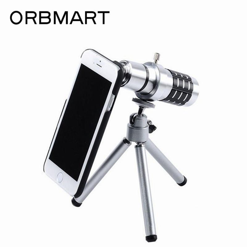 imágenes para Orbmart 12x de zoom óptico lente del telescopio con cubierta trasera del caso para apple iphone 7 7 plus