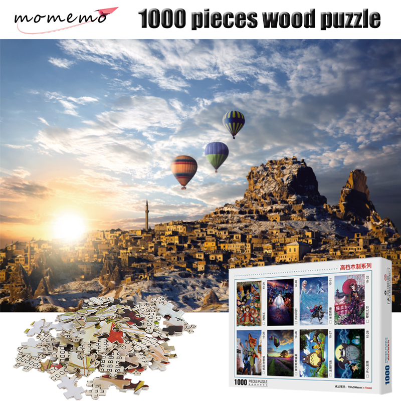 MOMEMO Fire Balloon Puzzle 1000 Pieces Wooden Puzzles High Definition Jigsaw Puzzle Adult Children's Educational Toy Puzzle Game
