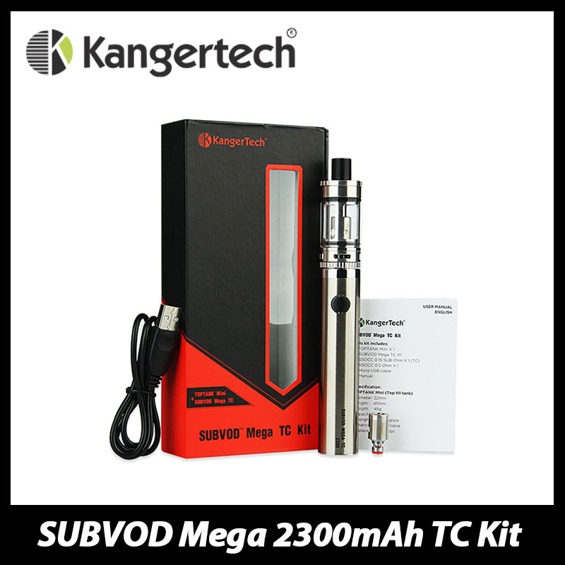 100% оригинал kanger subvod мега электронная сигарета комплект с ТК mod Батарея 2300 мАч и 4 мл TopTank мини-форсунки испаритель