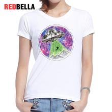 REDBELLA 2017 Women Alien Tops New Arrival Parody Rick And Morty Spaceship Circular Pattern Printing Cotton Cartoon USA Clothing