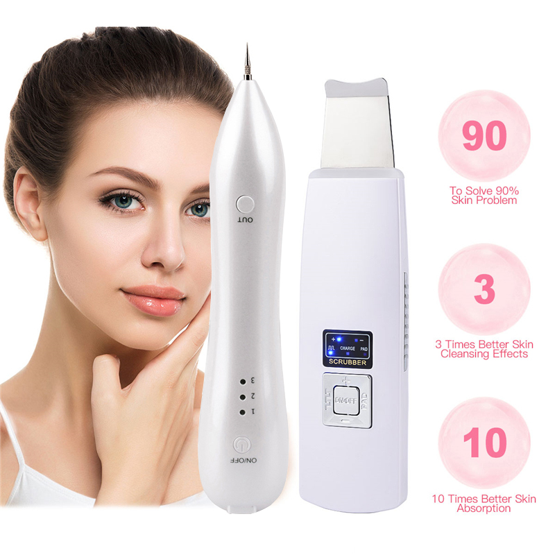 Freckle Machine Skin Mole Dark Spot Remover Face Wart Tag+Rechargeable Ultrasonic Pore Cleaner Therapy Skin Scrubber Exfoliator face skin mole removal dark spot wart tag remover deep clean rotary 4 in 1 electric pore cleaner tool scrubber beauty lady razor