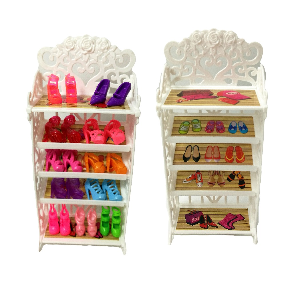 One Set 2018 Newest Doll Shoes Rack Playhouse Accessories For Barbie Doll Furniture Kids Toys Best Gift For Girl's цена