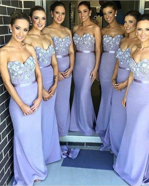 Mermaid Slim Girls  Party Dress Charming Lavender Bridesmaid Dresses 2017  Sexy Appliqued Sash Strapless Vestidos De Madrinha 3ed611d975a5