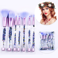Bling 7PCS Makeup Brushes Aquarium Liquid Glitter Brush Set Mermaid Portable Eyebrow Eyeshadow Brush Set Makeup