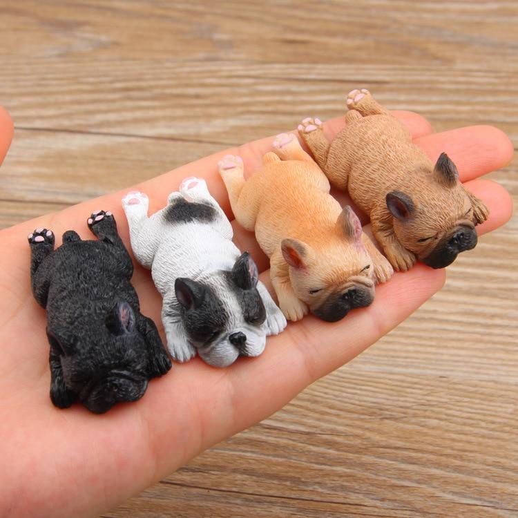 Sleeping Bulldog Figurines Dogs Fairy Garden Miniatures Terrariums Gnome Resin Crafts Doll Decoration For Dollhouse Home Decor 1