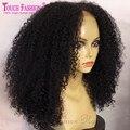 8А Монгольский Странный Вьющиеся Фронта Шнурка Человеческих Волос Парики Glueless Афро странный Курчавый Парик Для Чернокожих Женщин Странный Вьющиеся Full Lace Wig