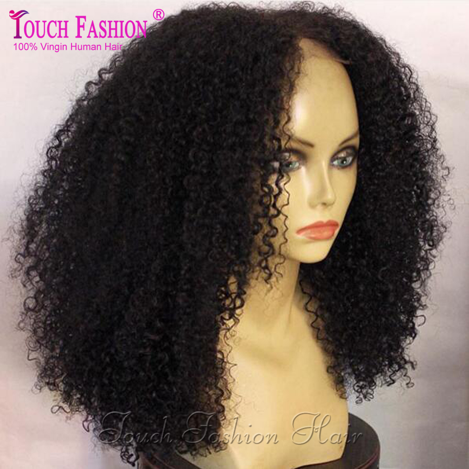 8A Mongolian Kinky Curly Lace Front Human Hair Wigs ...