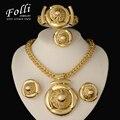 2016 Conjuntos de Jóias de Moda Grande Folwer Pingente Colar Brincos Pulseira Dubai Banhado A Ouro Conjuntos de Jóias Traje Africano Mulheres
