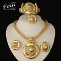 2016 Fashion  Jewelry Sets Big Folwer Pendant Necklace Earrings Bracelet Dubai Gold Plated  African Costume Jewelry Sets Women