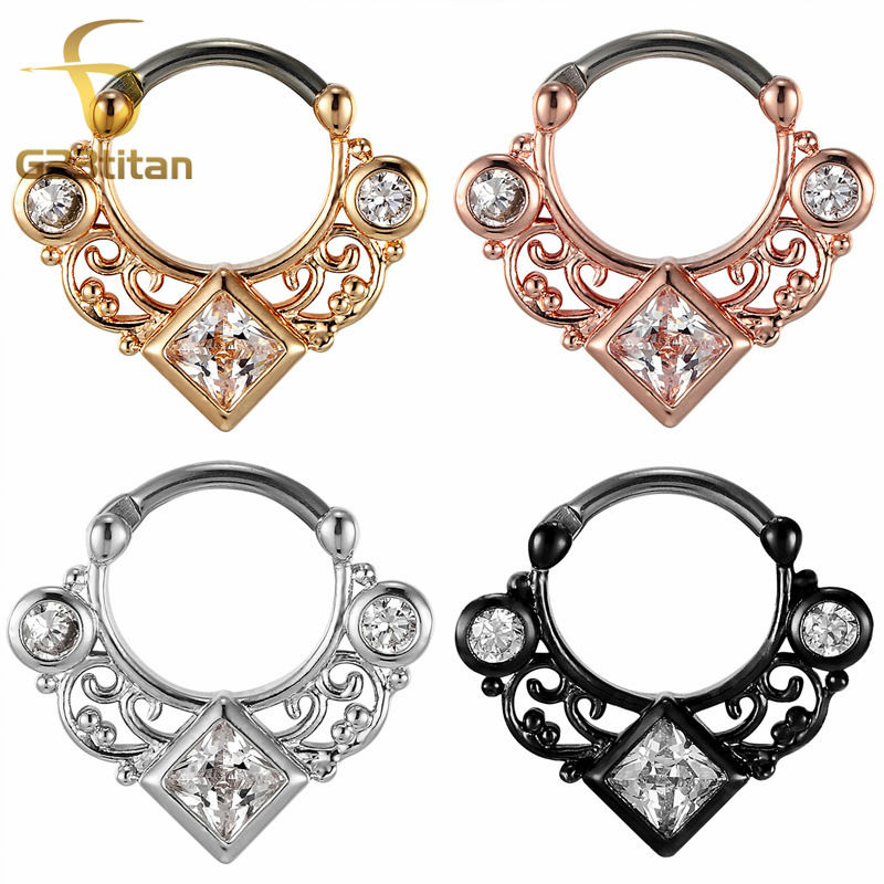 G23titan 16G G23 Titanium Pole Septum Clicker Septum Ring CZ Nese Ringe High Quality Body Piercing Smykker