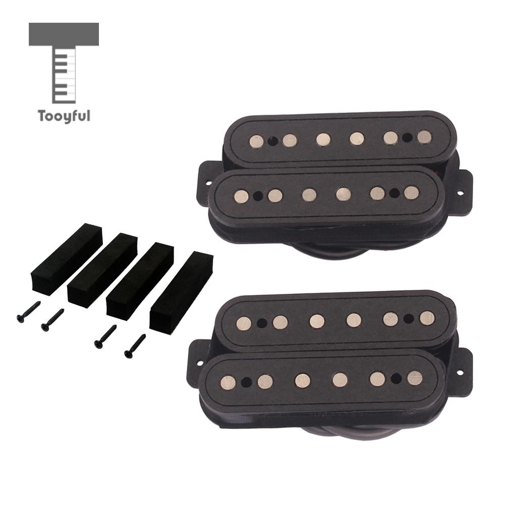 Tooyful Electric Guitar Humbucker Dual Coil Pickup Alnico 5 with Screws for Stratocaster Cigar Box Guitar Replacement Parts belcat electric guitar pickups humbucker alnico 5 humbucking bridge neck chrome double coil pickup guitar parts accessories