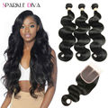 8A Grade 3 Bundles Malaysian Virgin Hair With Closure Malaysian Body Wave With Closure Cheap Human Hair Weave With Lace Closures