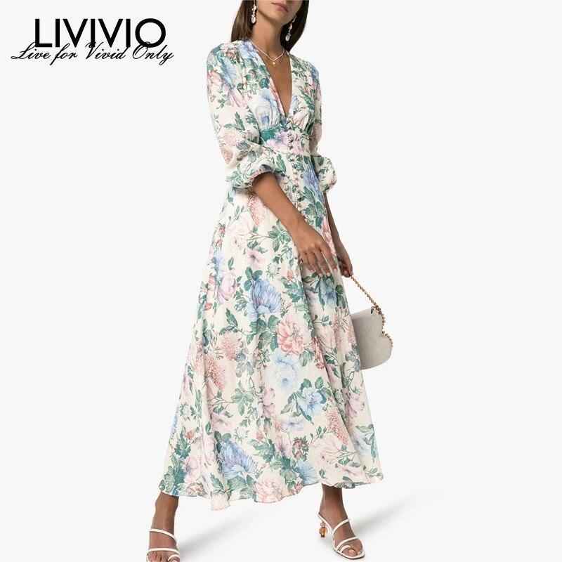 LIVIVIO 2019 Summer V Neck Long Maxi Dress Sash Tie ZIM Floral printed Lantern Long