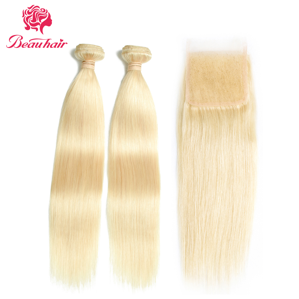 Beau Hair Company Malaysian Straight Hair Human Hair Extensions 10-26Inch With Closure Non-Remy Hair Weaving 613 Blonde Bundles