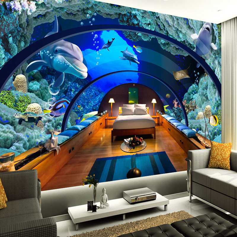 Custom 3D Poster Photo Wallpaper Marine Museum Underwater World 3D Living Room Bedroom Backdrop Wall Mural Wallpaper De Parede image