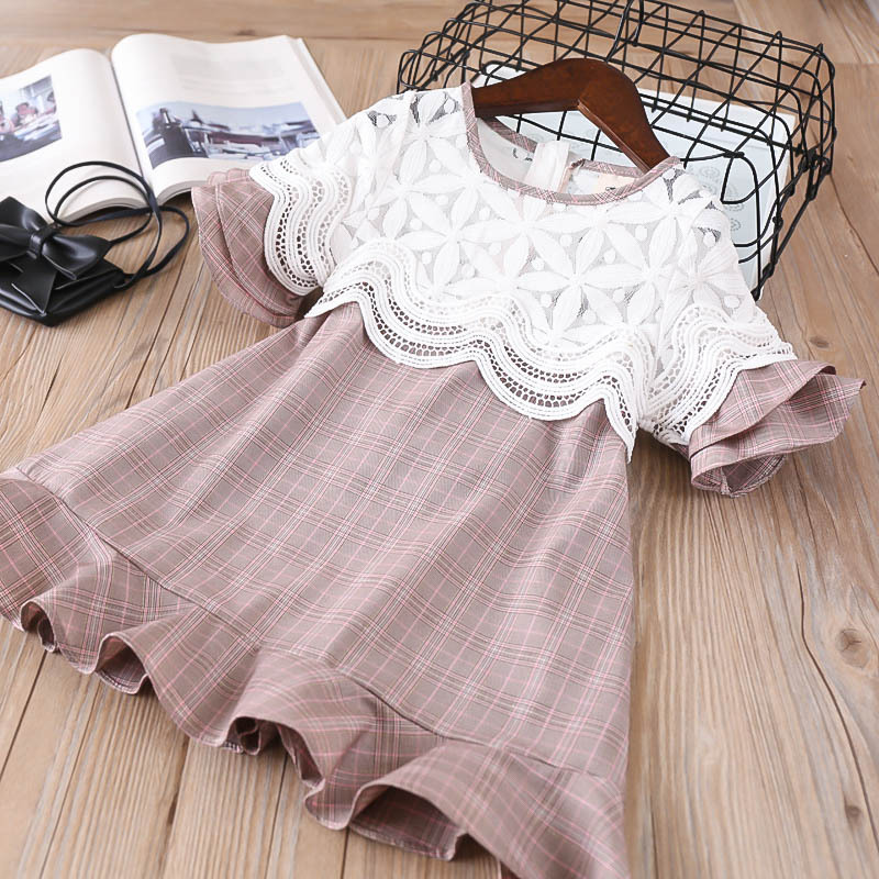 Everweekend Sweet Girls Lace Floral Plaid Ruffles Dress Lovely Kids Bell Sleeve Brown Color Princess Summer Holiday Clothes