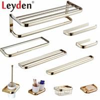 Leyden Gold Finish Toilet Paper Holder Towel Bar Bath Robe Hook Wall Mounted Solid Brass Towel Hanger Bathroom Accessories Set