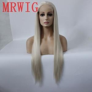 MRWIG #0809 pelo rubio color real parte media del pelo 26 pulgadas encaje suizo transparente tres peines y correas en stock