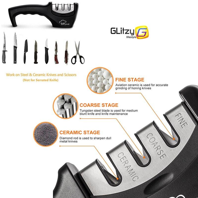 Hot Deals╙Knife Sharpener Grinder Knives-Whetstone Diamond Professional Kitchen Tungsten 3-Stages