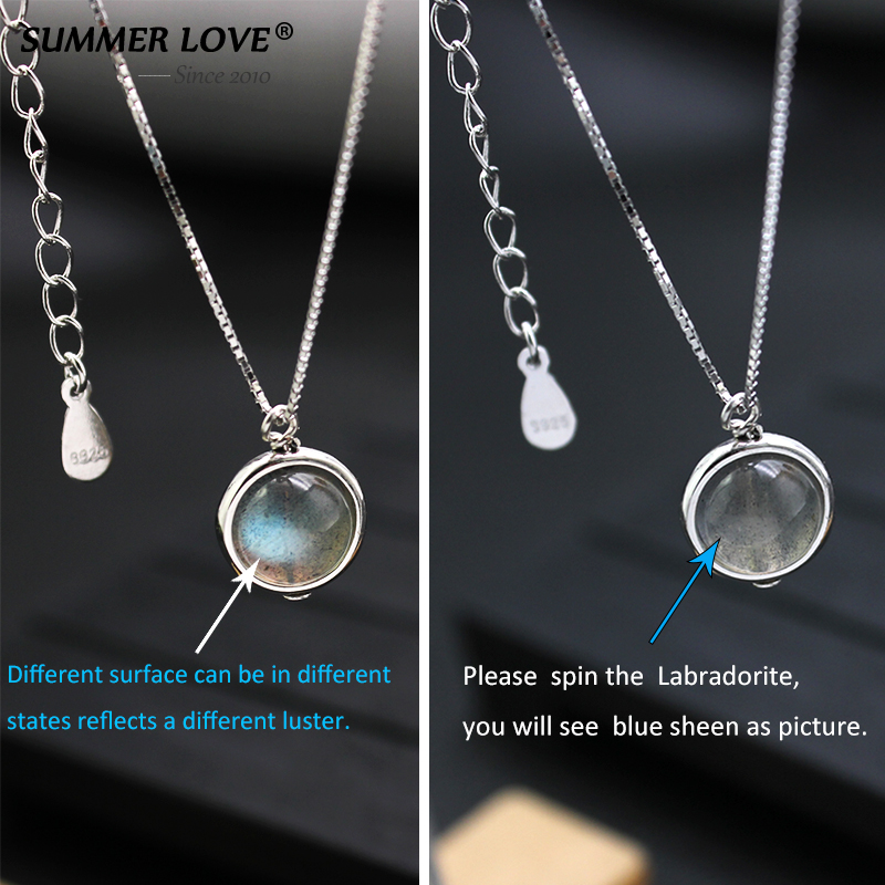 Genuine S925 Sterling Silver Labradorite Pendant Necklace For Women Fine Jewelry Nature Gemstone Handmade bijoux femme 4