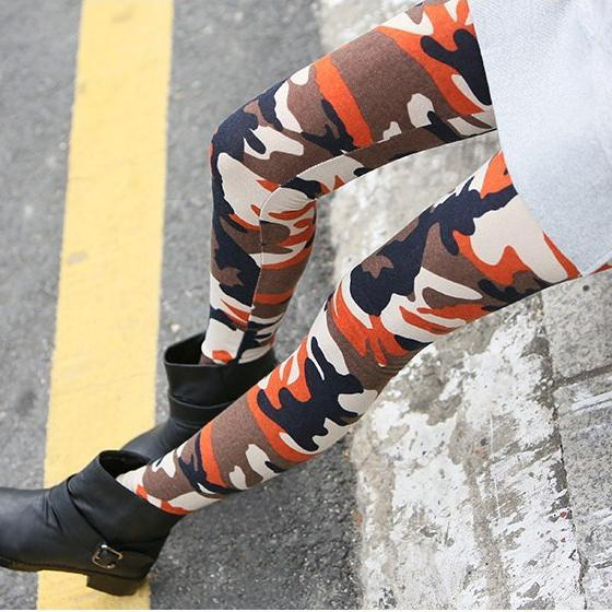 Spring And Autumn New Personality Camouflage Print Army Style Korean Fashion Nine Points Leggings Female Slim Pants