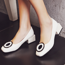 Brand New Spring Novel Square Heel Design High Quality Pumps Women Shoes Patent Leather Ladies White Black High Heels Shoes