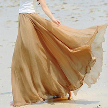 Summer Women Skirts Casual Beach Holiday High Waist Loose Chiffon Long  Maxi pleated Ladies Skirt