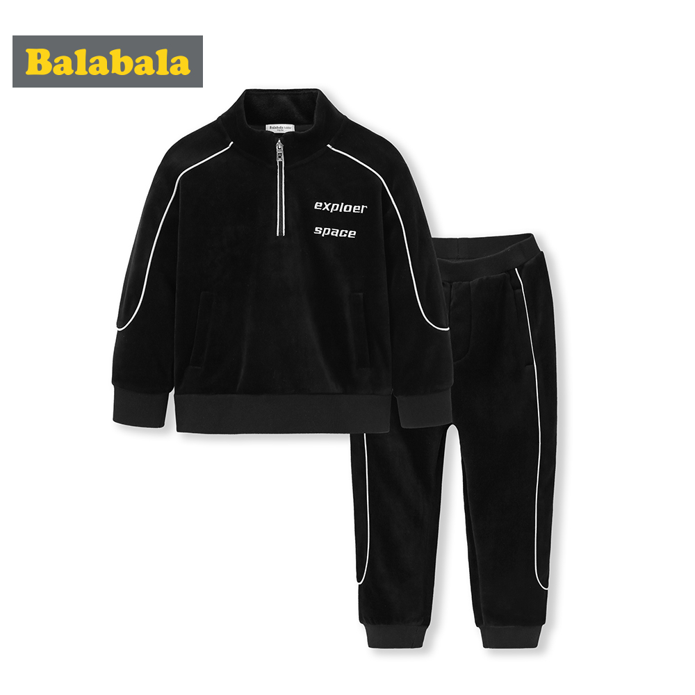 купить Balabala 2018 Children Kids Boys Clothing Sets Autumn Winter Sets Cotton Hooded Coat Suits Fall Cotton Baby Boys Coat+Pant 2Pcs по цене 2079.69 рублей