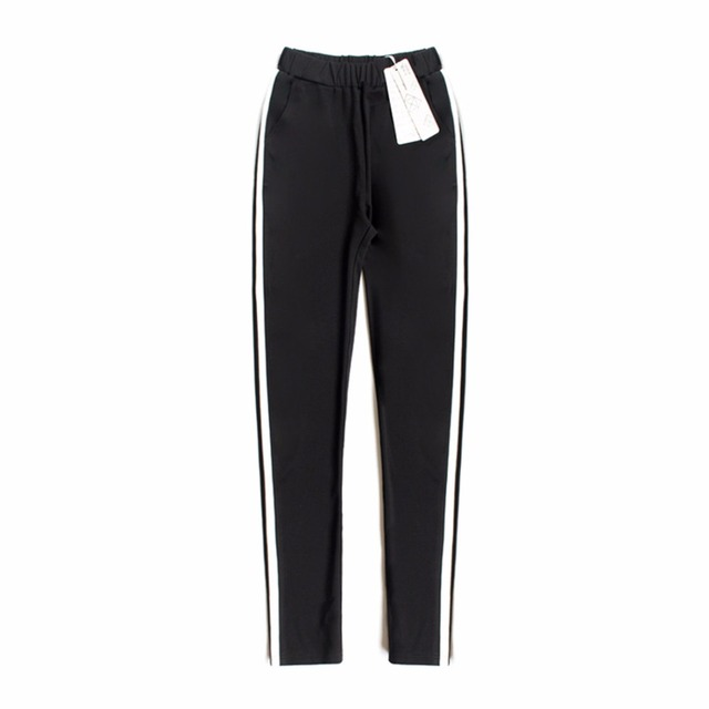 1bed54875298 2018 Women Long Pant Casual Style Side Belt White Striped Stitching Wide  Leg Pants Black Casual