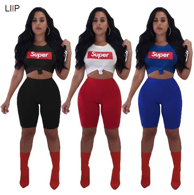 02f0f69d241 summer 2018 sexy crop top and shorts two piece set tracksuit club women  matching set LIIP