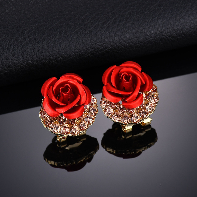 Terreau Kathy 2018 Fine Jewelry Brincos Fashion Colour Plated Red Rose  Earrings For Women Vintage Crystal 92f215b6b921