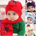 Venta al por menor! 2014 bebé Recién Llegado tapas de niños de la manera sombreros sombreros del bebé del Tocado del sombrero del invierno de la muchacha gorra de regalo