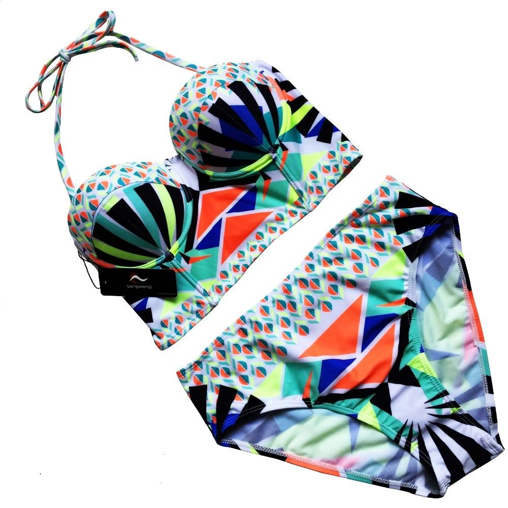 Bikini Set 2017 Summer Swimwear Women Sexy Geometric Print Swimsuit Lace Up BathingSuit Push Up Beach Brazilian Maillot De Bain