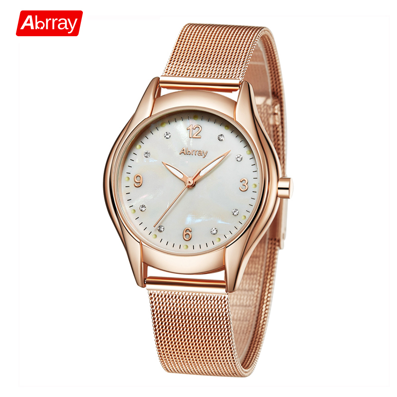 Abrray Fashion Shell Face Female Quartz Watch with Luminous Hands Rose Gold Color Stainless Steel Trap Mesh Wristwatches