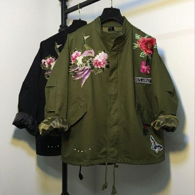 Witsources женщины павлин вышивка куртки осень новая мода с длинным рукавом цветочный бабочка вышивка случайно куртку SD3442