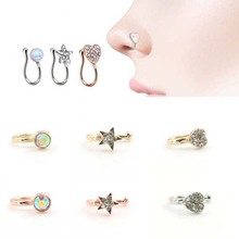 1PC Amazing 3 Colors 3 Styles Crystal Mrs. Unique Nose Clip Noseclip Fake Nose Ring Faux Piercing Fake Septum Body Jewelry
