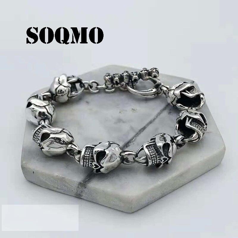 SOQMO 925 Bracelets en argent Sterling pour hommes Bracelet crâne Vintage Punk Rock gothique Bague mode hommes Cool exagéré bijoux