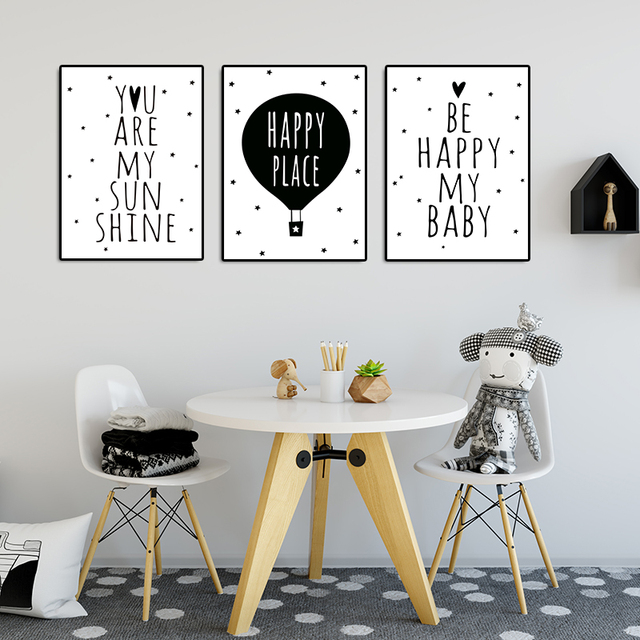 Nursery Kids Bedroom Decoration Simple Quote Wall Art Canvas Poster And Print Black White Painting