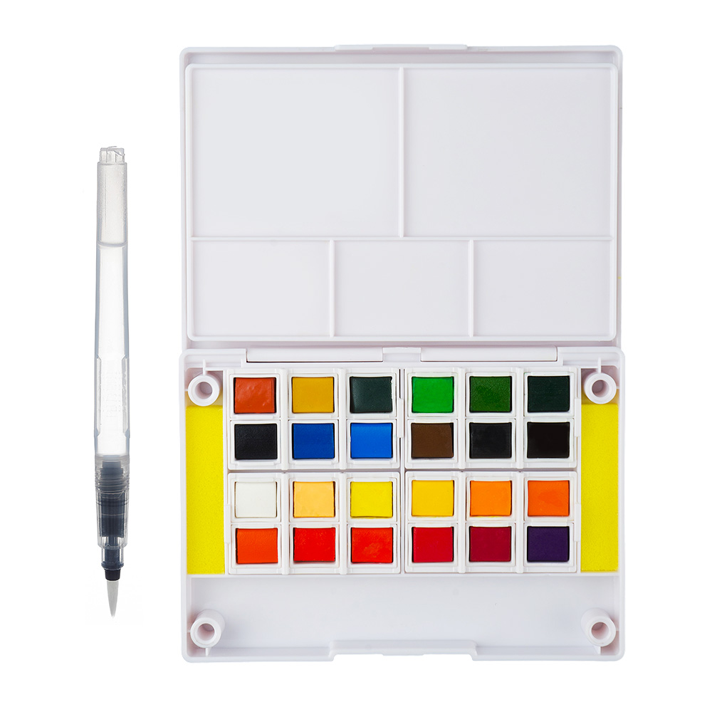 Watercolor Solid Pigment Paint Set 24 Colors with  a Separate Palette and a Water Painting Brush for Art Drawing купить