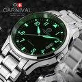 Carnaval de lujo Impermeable del reloj Luminoso hombres negro Zafiro máquina Automática de acero inoxidable reloj de pulsera relogio masculino