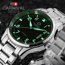 Luxury Carnival Luminous Waterproof watch men black stainless steel Sapphire Automatic machine wristwatch relogio masculino