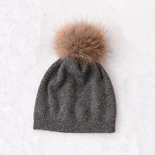Женщины зимняя шапка шерсть вязаный шапочки кап реальных природных лисий мех помпон шляпы сплошным цветом gorros крышка женщина причинная hat
