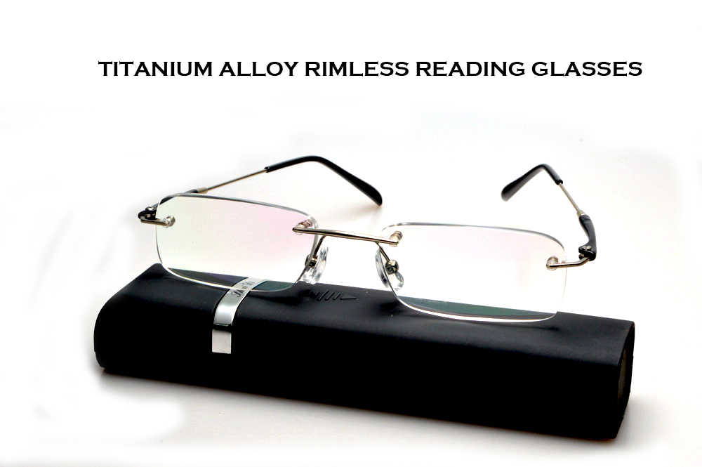 Occhiali Da Lettura Real 2019 Claravida Rimless Frameless Portable With Case Reading Glasses For Men +1 +1.5 +2 +2.5 +3+ 3.5 +4