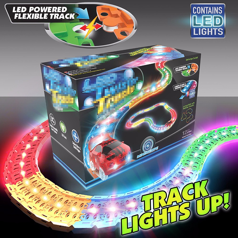 12 feet Glowing Race Car Twister Track LED Flashing Light Tracking Rail Glow in the Dark magic Flexible Railway Cars toy car