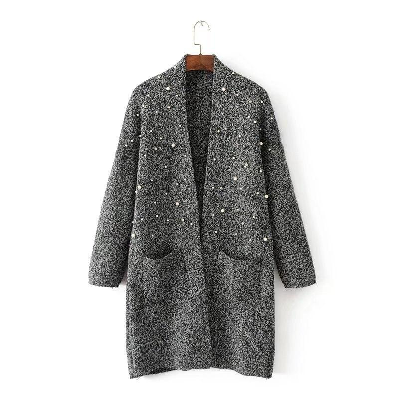 2017 Ouvrir Long À Longues Tricot Manches Chandail Femmes Veste Pull Cardigan Noir Perle Surdimensionné Point En Cardigans Manteau Nouveau Cou V CwAdqdz