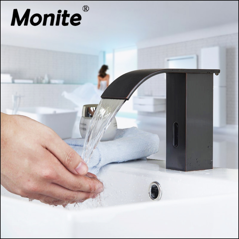 Automatic Hands Touch Free Sensor Soild Brass Black ORB Waterfall Bathroom Wash Basin Sink Mixer Tap Faucet Water Tap fapully bathroom waterfall basin faucet deck mounted automatic hands touch sensor water faucet waterfall sink tap