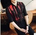 2017 новый стилист мужчины Корейской версии Тонкий цветок рубашка мужчины лето лето личность печатные семь-точка рубашка рубашка трен