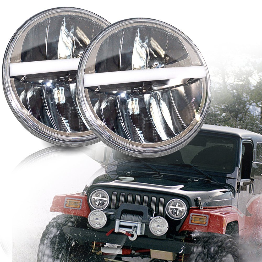 7inch LED headlight For J eep wrangler JK LJ TJ CJ 7 projector daymaker headlamp replacement for Land Rover Defender 90/110 75w 5d 7 inch round led projector daymaker headlight for jeep wrangler jk land rover defender 90