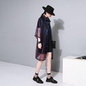 Image 5 - [Eam] 2020春夏新作ラペル七分袖グリーンシン視点ルーズビッグサイズのシャツの女性ブラウスファッションJU180